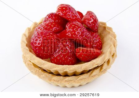 Two Pastry Cases With Freshly Picked Strawberries