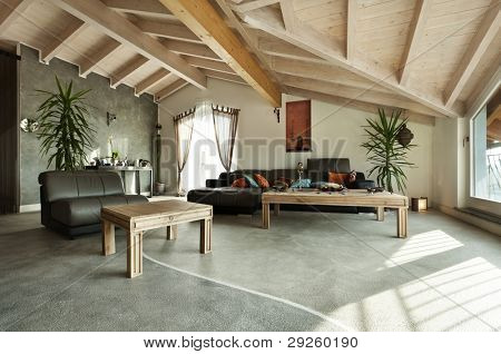 interior new loft, ethnic furniture, livingroom