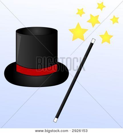 Magic Hat And Wand W Stars