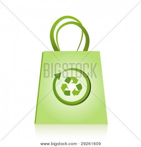 Green biodegradable shopping bag with recycle symbol.