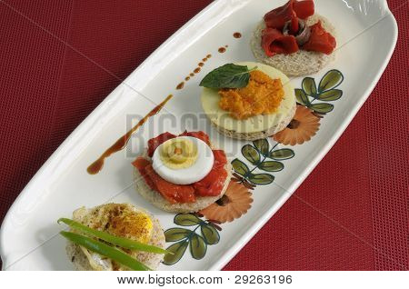 Canapes With Eggs, Peppers And Pate