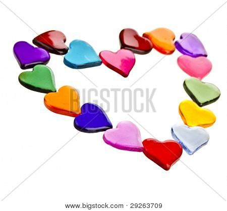 decorative frame of colorful shaped heart gel  isolated on white background