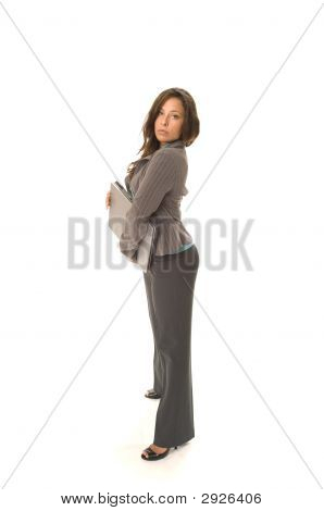 Business Woman With Laptop Isolated On White