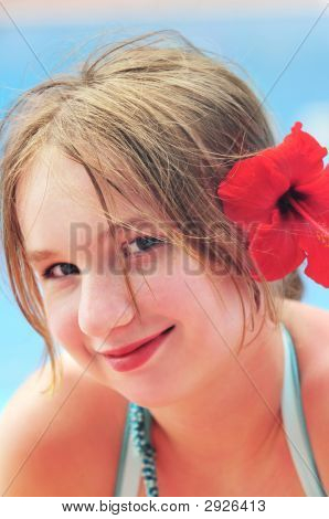 Portrait Of A Girl With Red Flower