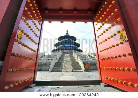 Chinese temple behind red gate