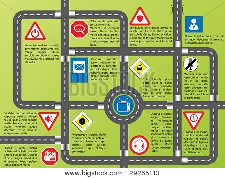Info Graphic With Roads And Stylish Signs