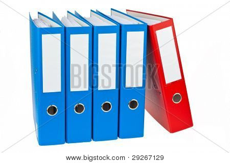 File folders with documents and papers. Retention of contracts.