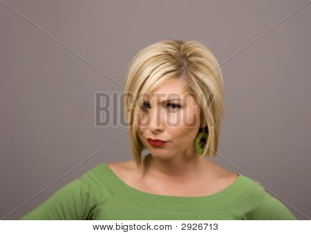 Blonde With Stern Look