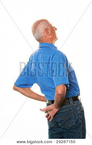 An elderly man with back pain. Senior with pain in the back.