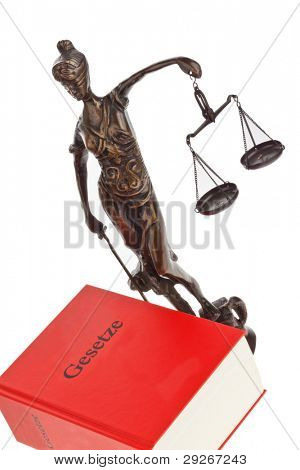 A Justice with a law book in court. Isloiert on white background