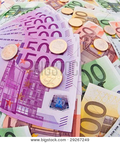 Many Euro banknotes of the European Union. Special perspective