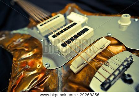 Unique And Artistic bronze metal Guitar with strings