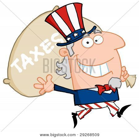 Waving Uncle Sam Carrying A Taxes Sack