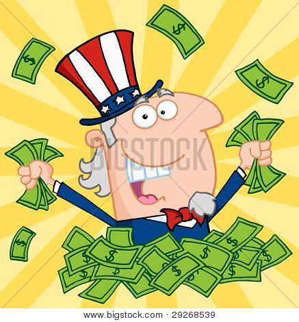 Rich Uncle Sam Playing In A Pile Of Money