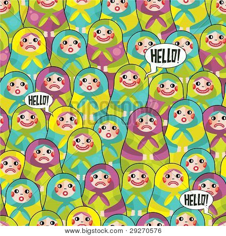 Matreshka disorder seamless pattern.