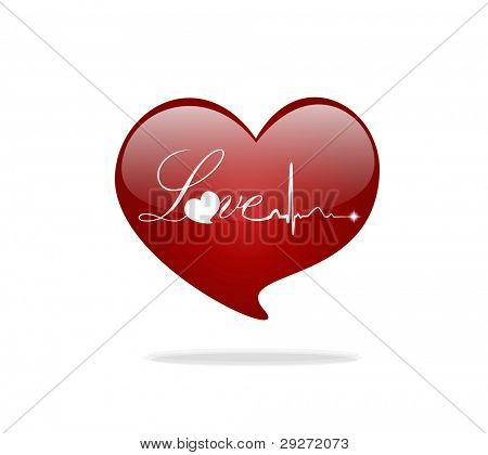 Heart and Love with EKG signal. Valentine's Day. Vector Illustration.
