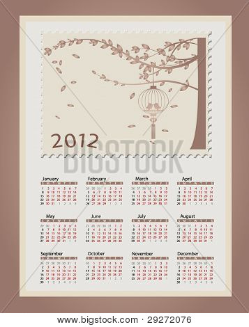 Romantic vintage background 2012 calendar. Vector Illustration. Easy editable.