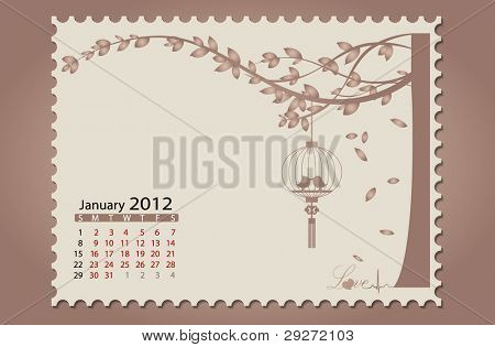 Romantic vintage background 2012 calendar,January. Vector Illustration. Easy editable.
