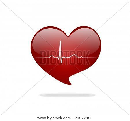 Heart with EKG signal. Valentine's Day. Vector Illustration.