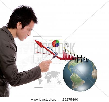 Business man look earth and business graph under a magnifying glass