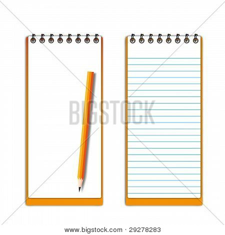 New pocketbook blank page with pencil.