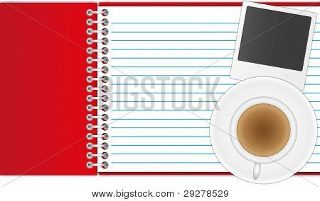 New red cover notebook and open page with photo and coffee.