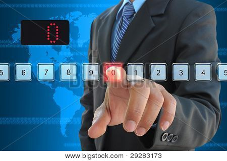 businessman hand pressing 0