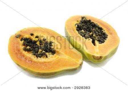 Two Half Of Papaya