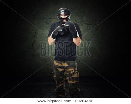 krav maga athete e grunge background