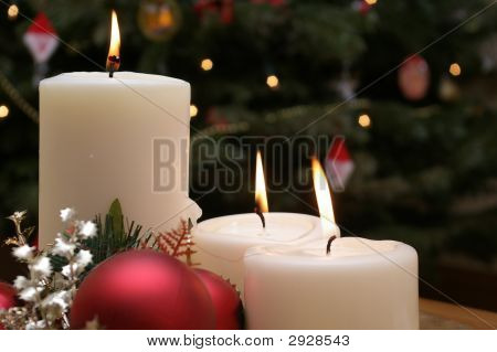 Christmas Candles With Christmas Tree Background