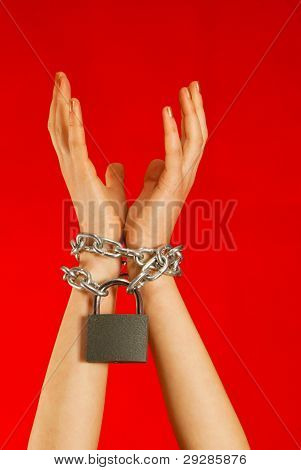 Hands Tied Up With Chains