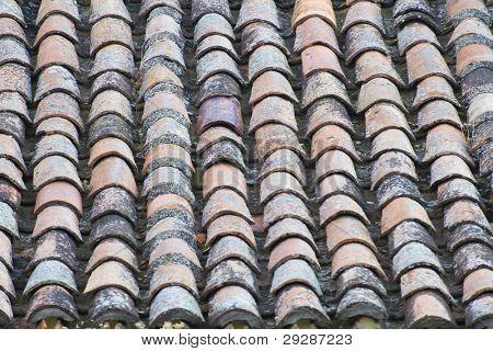 Antique roof tiles, spain architecture