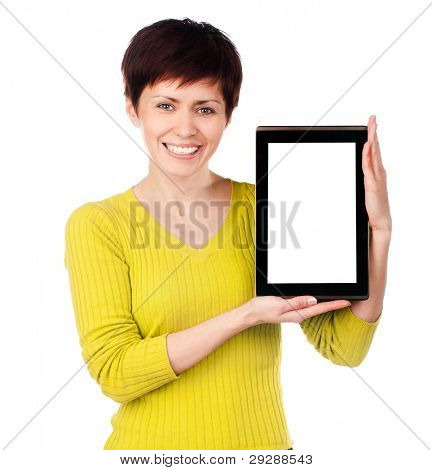 girl with tablet on a white background