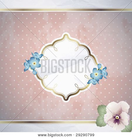 Romantic pink square banner with flowers