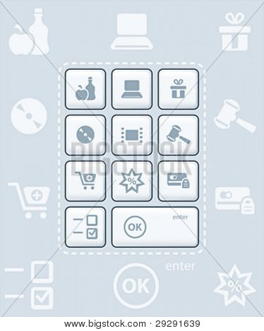 Modern glossy keyboard or icon-set for online shopping