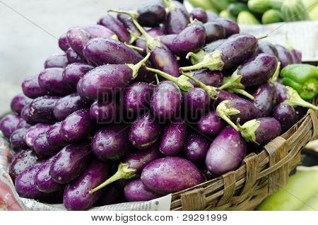Eggplant purple on a market