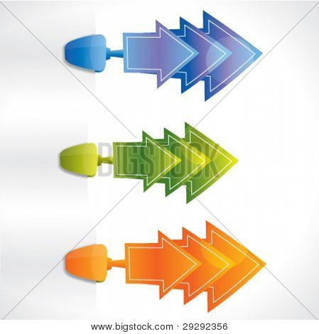 Modern price or promotional arrow shaped sticker / tag set