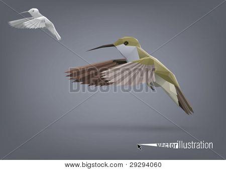 Small Colibri in flight stylized polygonal model