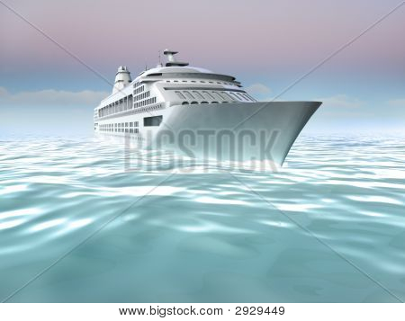 Illustration Of Cruise Ship At Sea