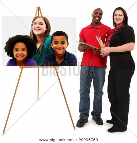 Beautiful Interracial Family Portrait with mom and dad painting children's portrait at easel over white background.