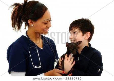 Happy Boy Gets Pet Chihuahua Back From Veterinarian over White Background
