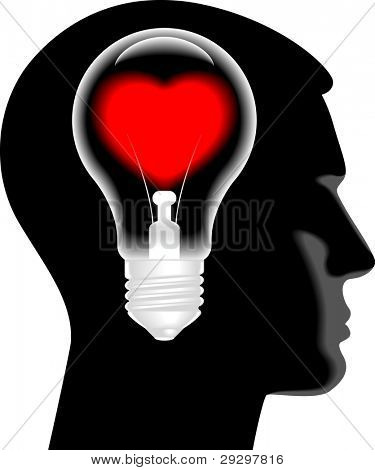 the lamp in the form of hearts in the silhouette of his head