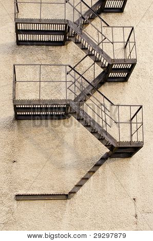 Old Building Metal Emergency Exit Stairs Down