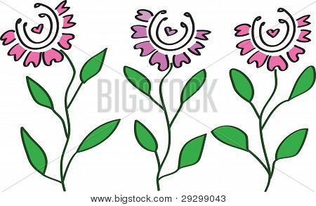 Three Flowers With A Heart