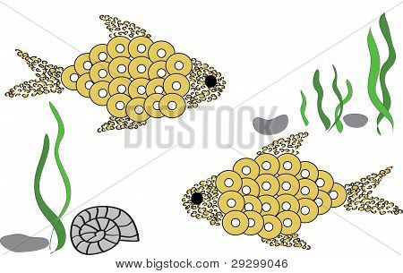 Two Fishes And Water-plant