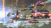 Flying Car Traffic In The Futuristic World, Digital Art Style, Illustration Painting poster
