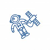 Spaceman In Space With Spaceship Line Icon Concept. Spaceman In Space With Spaceship Flat  Vector Sy poster