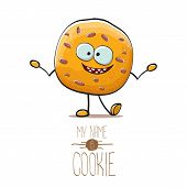 Vector Funny Hand Drawn Homemade Chocolate Cookie Character Isolated On White Background. My Name Is poster