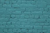Texture Of A Turquoise Brick Wall. Green Texture Brick Wall. Turquoise Brick Wall Texture Background poster