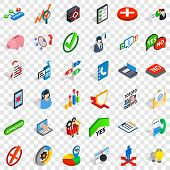 Business Statistics Icons Set. Isometric Style Of 36 Business Statistics Icons For Web For Any Desig poster